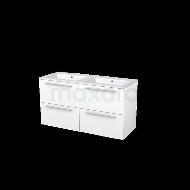 Badkamermeubel 120cm Modulo+ Mat Wit 4 Lades Vlak Wastafel Mineraalmarmer