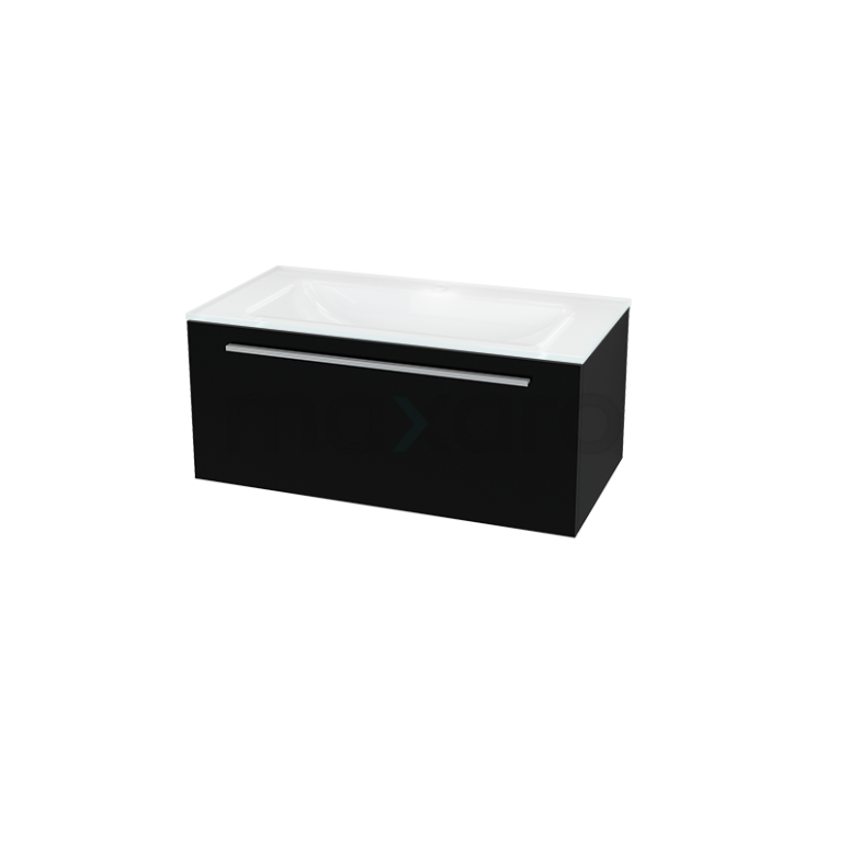 Badkamermeubel 90cm Modulo Zwart 1 Lade Vlak Wastafel Glas