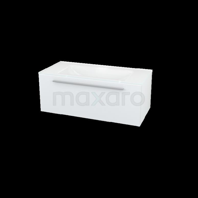 Maxaro Modulo BMA007057 Badkamermeubel 100cm Modulo Hoogglans Wit 1 Lade Vlak Glas