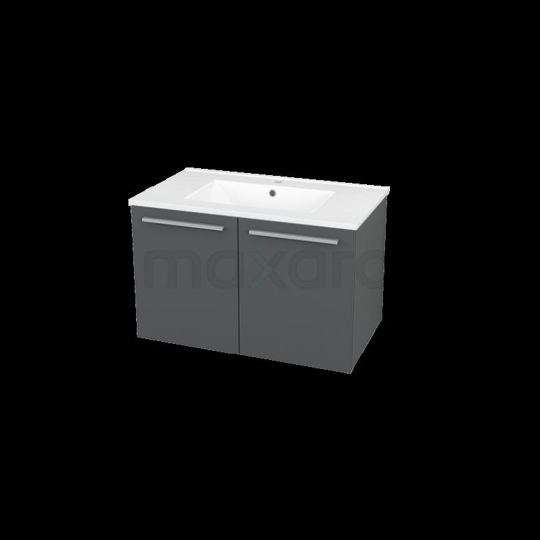 Badkamermeubel 80cm Box Grijs 2 Deuren Vlak Wastafel Keramiek