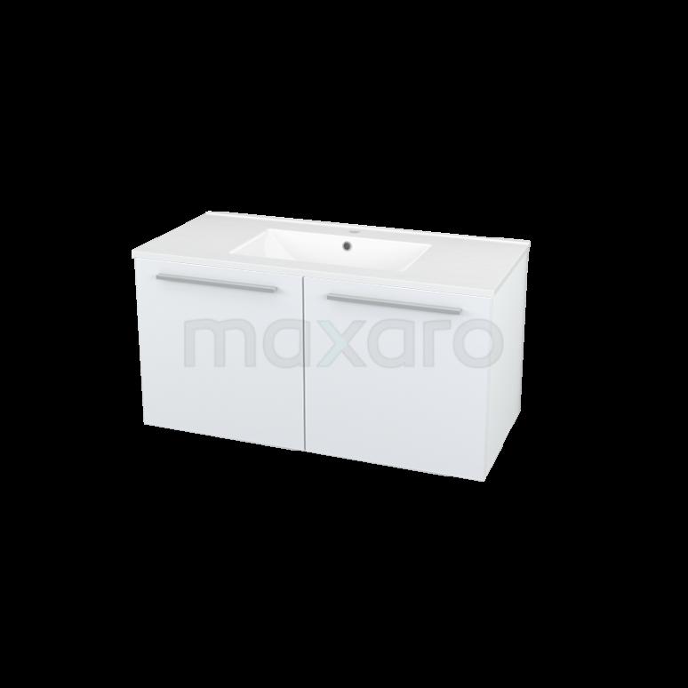 Badkamermeubel 100cm Box Wit 2 Deuren Vlak Wastafel Keramiek