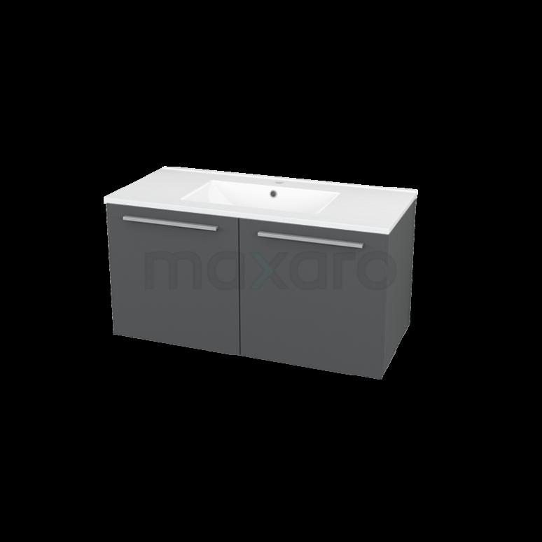 Maxaro Box BMA007230 Badkamermeubel 100cm Box Grijs 2 Deuren Vlak Keramiek