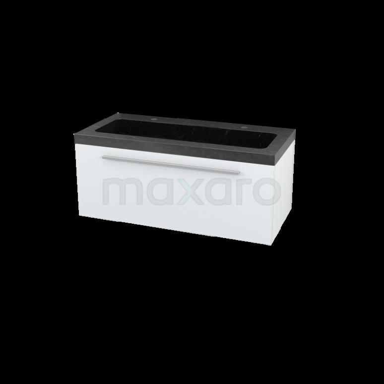 Badkamermeubel 100cm Modulo Hoogglans Wit 1 Lade Vlak Wastafel Natuursteen Graniet