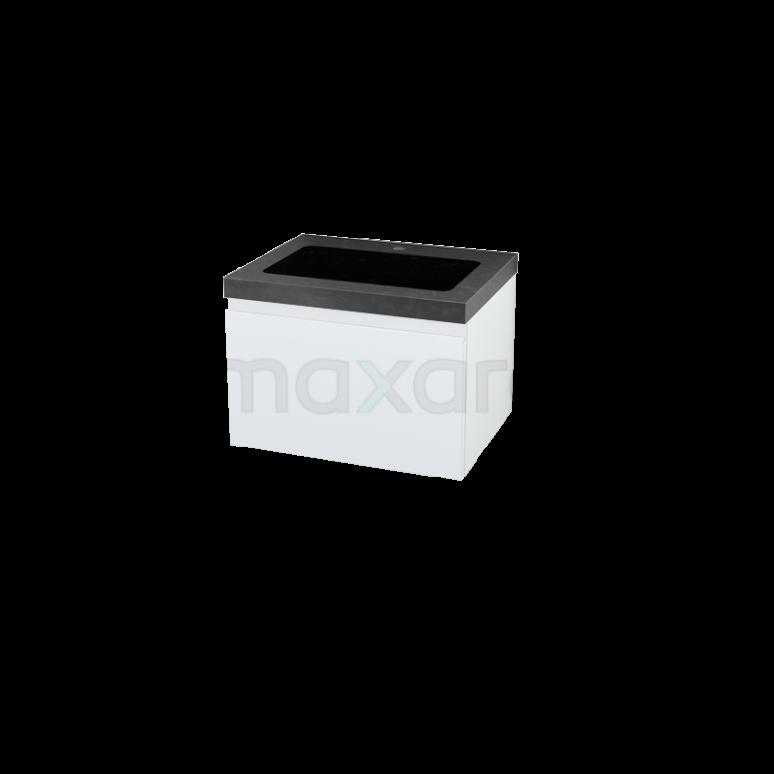 Badkamermeubel 60cm Modulo Hoogglans Wit 1 Lade Vlak Wastafel Natuursteen Graniet