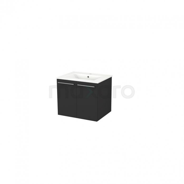 Badkamermeubel 60cm Box Zwart 2 Deuren Vlak Wastafel Keramiek