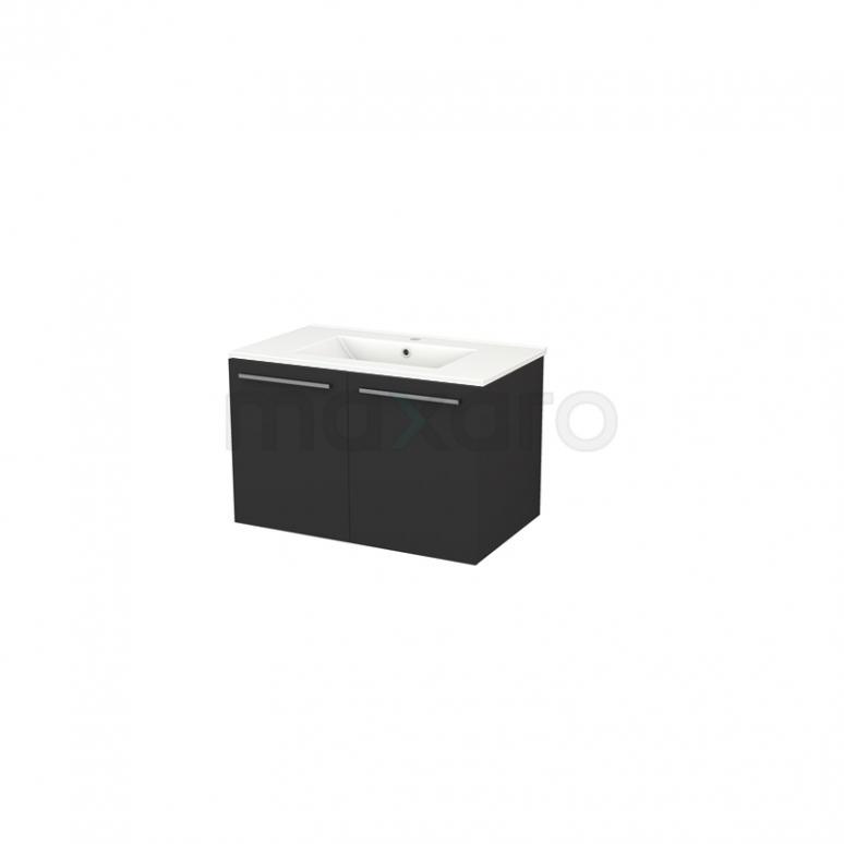 Badkamermeubel 80cm Box Zwart 2 Deuren Vlak Wastafel Keramiek