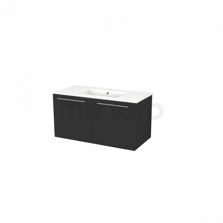 Badkamermeubel 100cm Box Zwart 2 Deuren Vlak Wastafel Keramiek