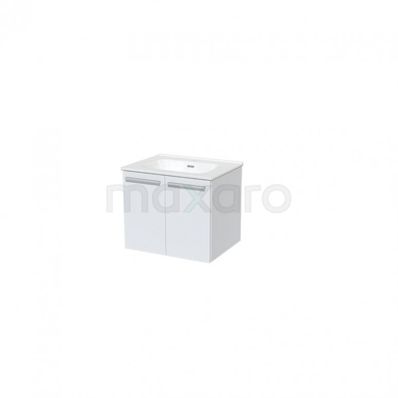 Badkamermeubel 60cm Box Wit 2 Deuren Vlak Wastafel Keramiek