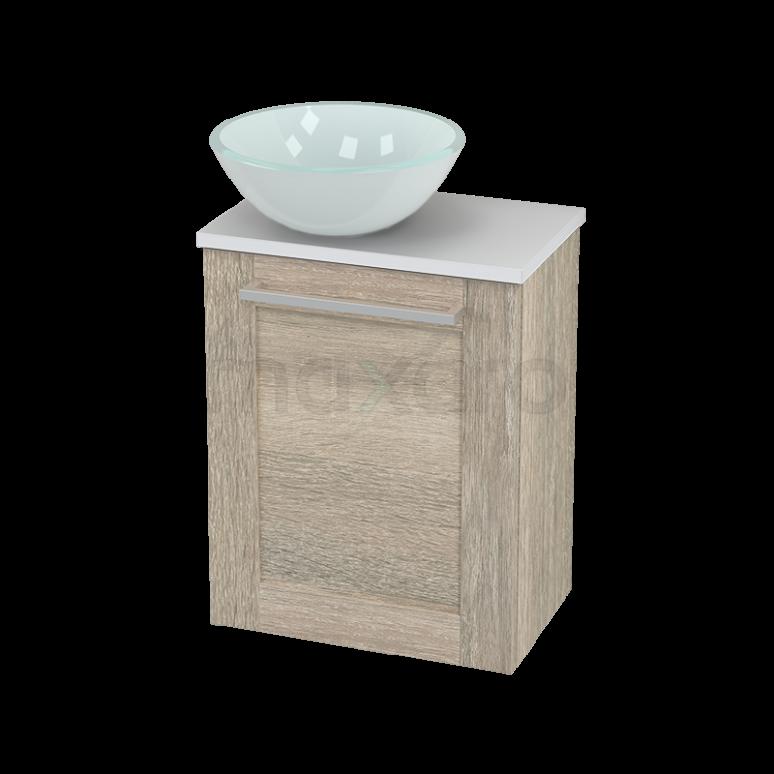 Toiletmeubel met Waskom Glas Modulo+ Pico Eiken 41cm