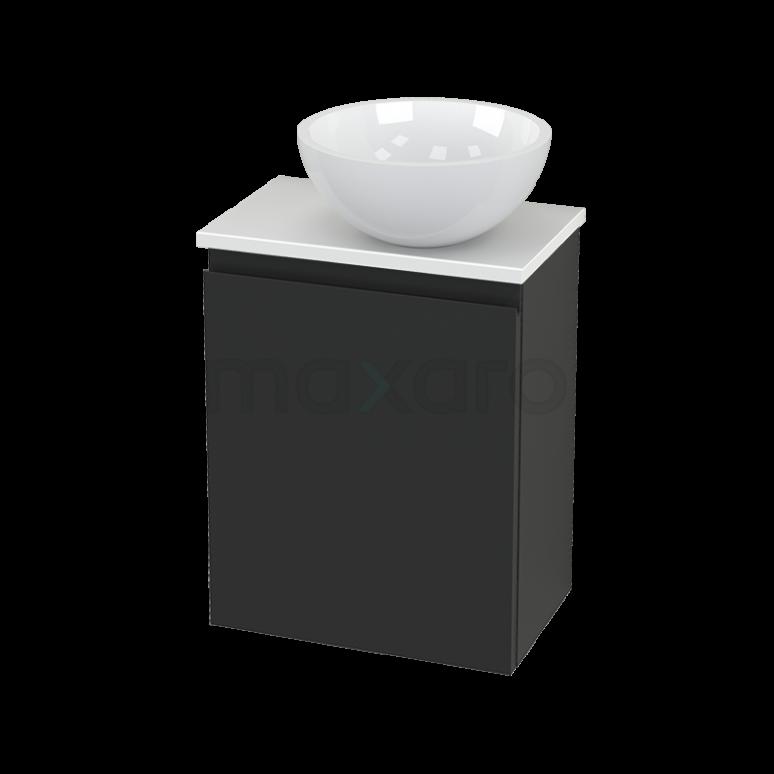 Toiletmeubel met Waskom Mineraalmarmer Glanzend Modulo+ Pico Carbon 41cm