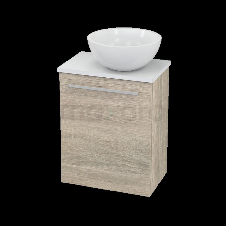 Toiletmeubel met Waskom Mineraalmarmer Glanzend Modulo+ Pico Eiken 41cm