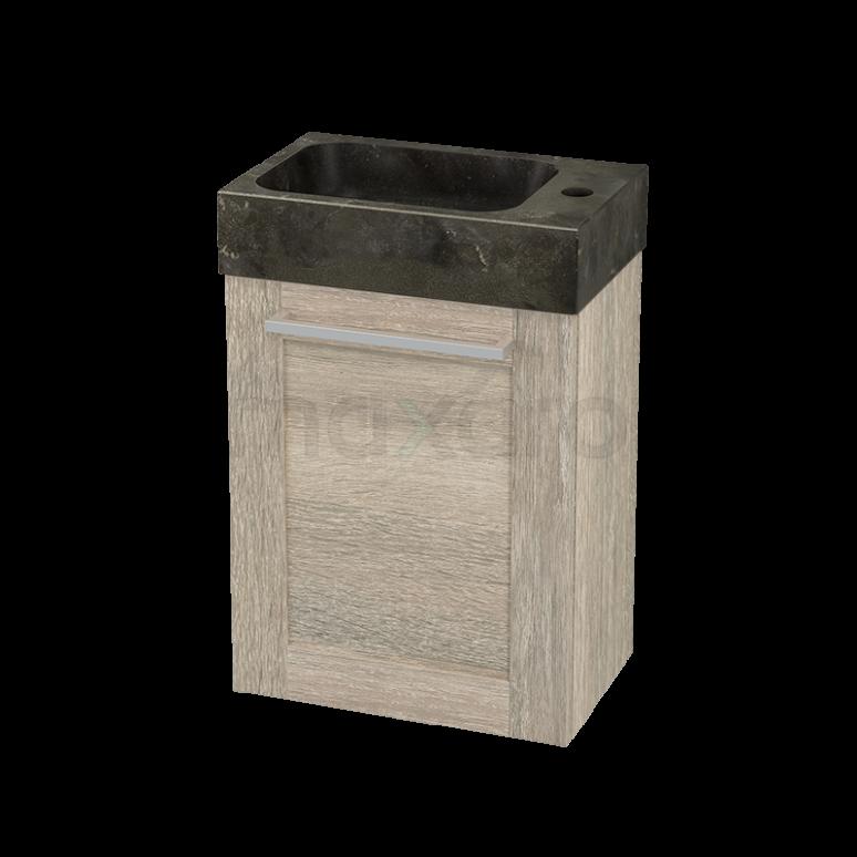 Toiletmeubel met Wastafel Natuursteen Modulo+ Pico Eiken 40cm
