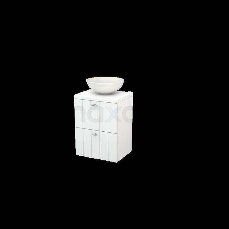 Badkamermeubel voor Waskom 50cm Modulo+ Plato Slim Hoogglans Wit 2 Lades Lamel