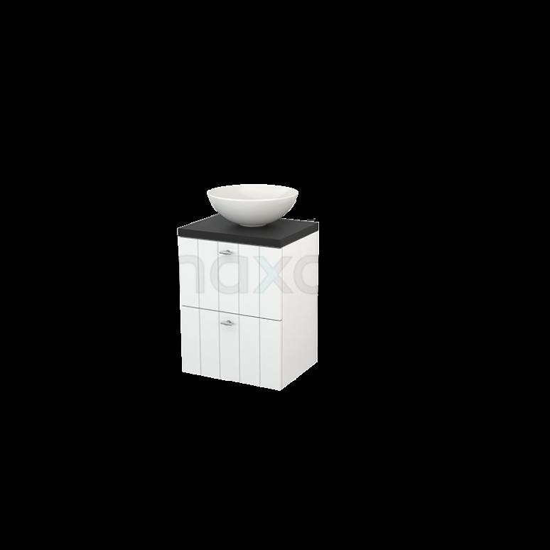 Badkamermeubel voor Waskom 50cm Hoogglans Wit Lamel Modulo+ Plato Slim Carbon Blad