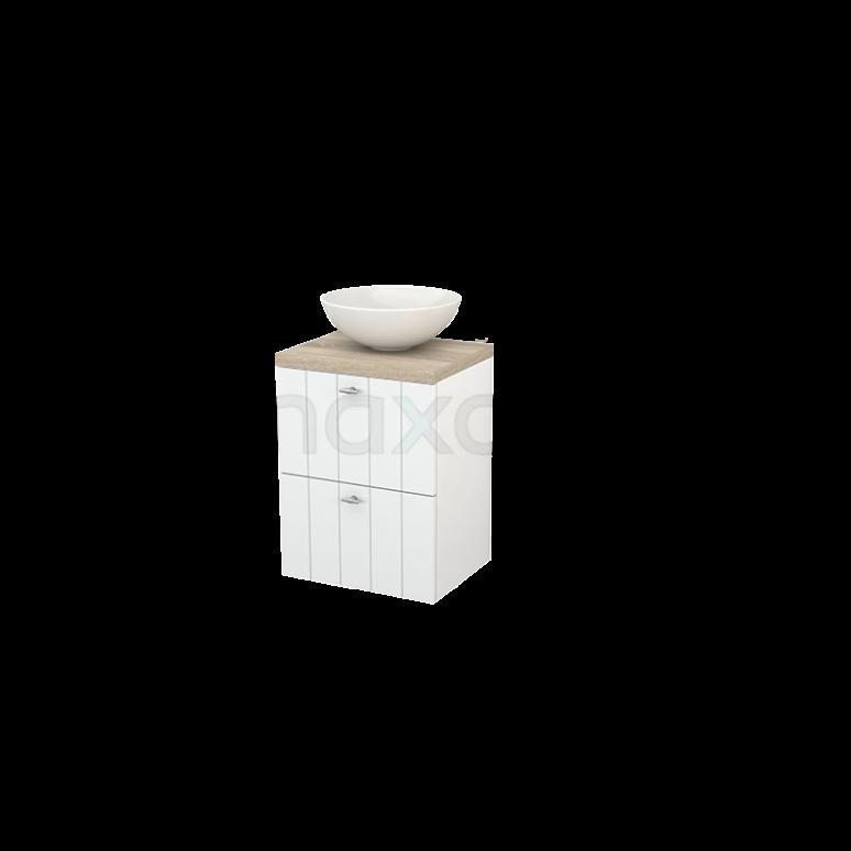 Badkamermeubel voor Waskom 50cm Hoogglans Wit Lamel Modulo+ Plato Slim Eiken Blad