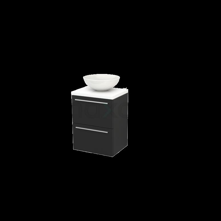 Badkamermeubel voor Waskom 50cm Carbon Vlak Modulo+ Plato Slim Hoogglans Wit Blad