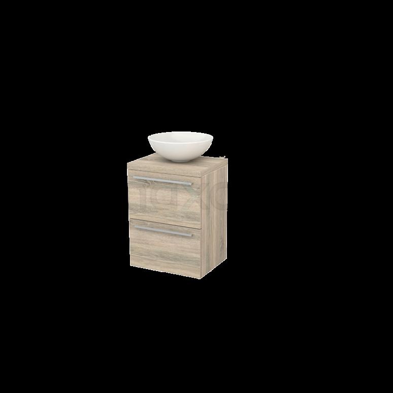 Badkamermeubel voor Waskom 50cm Modulo+ Plato Slim Eiken 2 Lades Vlak