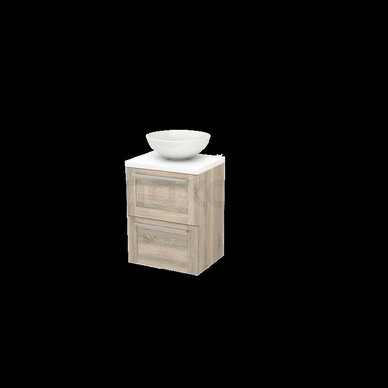 Badkamermeubel voor Waskom 50cm Eiken Kader Modulo+ Plato Slim Hoogglans Wit Blad