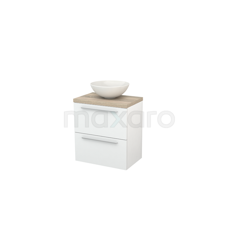 Badkamermeubel voor Waskom 60cm Hoogglans Wit Vlak Modulo+ Plato Slim Eiken Blad
