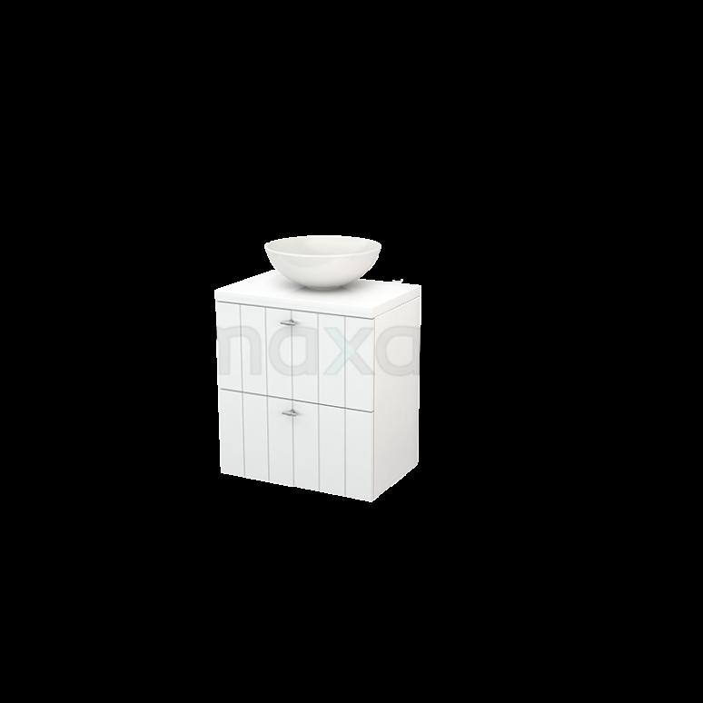 Badkamermeubel voor Waskom 60cm Modulo+ Plato Slim Hoogglans Wit 2 Lades Lamel