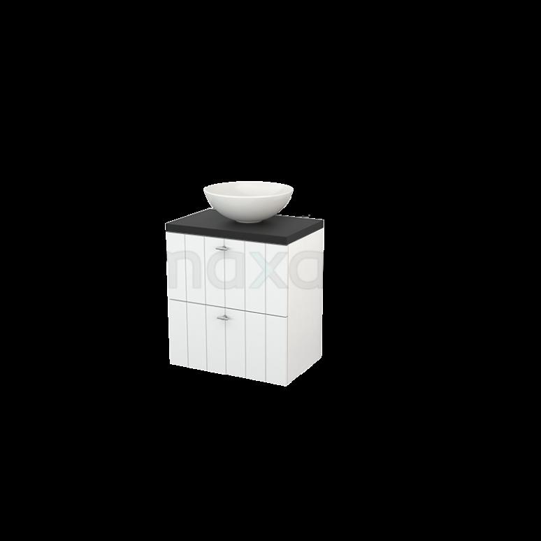 Badkamermeubel voor Waskom 60cm Hoogglans Wit Lamel Modulo+ Plato Slim Carbon Blad