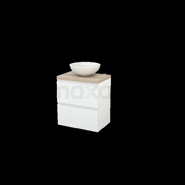 Badkamermeubel voor Waskom 60cm Hoogglans Wit Greeploos Modulo+ Plato Slim Eiken Blad