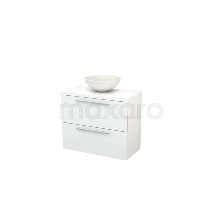 Badkamermeubel voor Waskom 80cm Modulo+ Plato Slim Hoogglans Wit 2 Lades Vlak