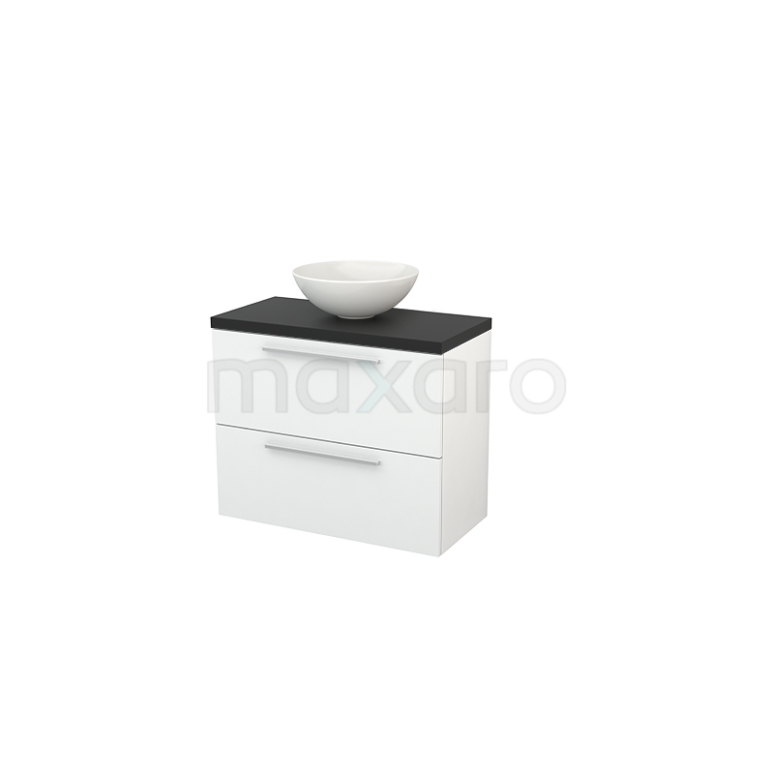 Badkamermeubel voor Waskom 80cm Hoogglans Wit Vlak Modulo+ Plato Slim Carbon Blad