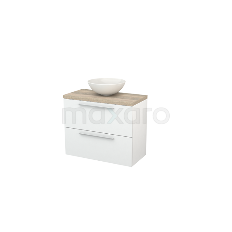 Badkamermeubel voor Waskom 80cm Hoogglans Wit Vlak Modulo+ Plato Slim Eiken Blad