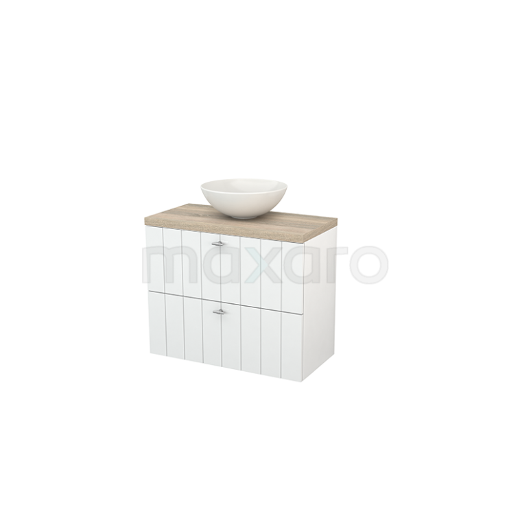Badkamermeubel voor Waskom 80cm Hoogglans Wit Lamel Modulo+ Plato Slim Eiken Blad