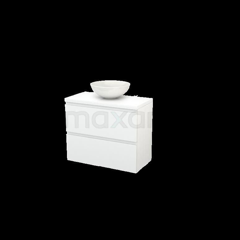 Badkamermeubel voor Waskom 80cm Modulo+ Plato Slim Hoogglans Wit 2 Lades Greeploos