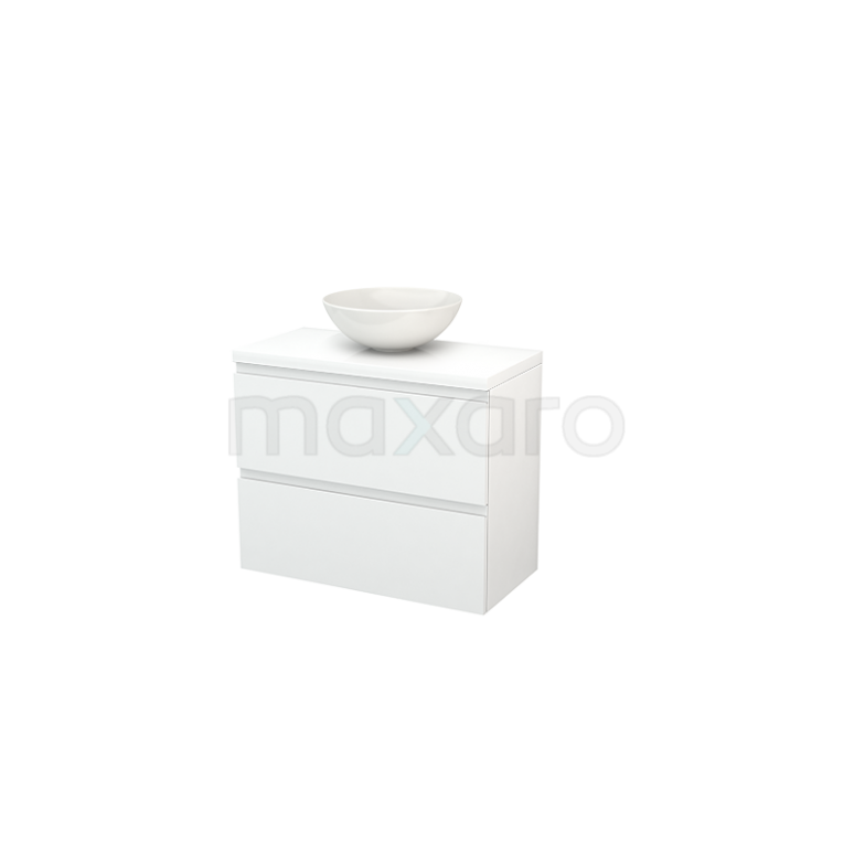 Maxaro Modulo+ Plato Slim BMD000096 Badkamermeubel voor Waskom 80cm Modulo+ Plato Slim Hoogglans Wit 2 Lades Greeploos