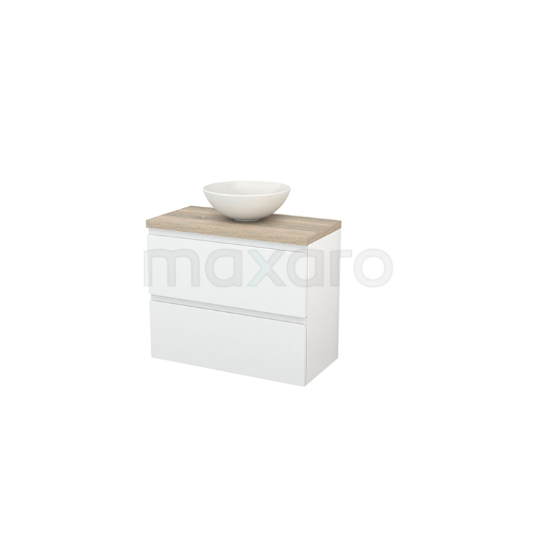 Maxaro Modulo+ Plato Slim BMD000098 Badkamermeubel voor Waskom 80cm Hoogglans Wit Greeploos Modulo+ Plato Slim Eiken Blad