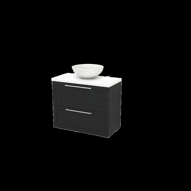 Badkamermeubel voor Waskom 80cm Carbon Kader Modulo+ Plato Slim Hoogglans Wit Blad