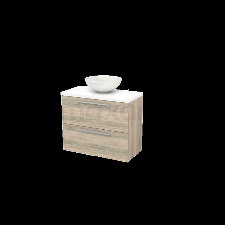 Badkamermeubel voor Waskom 80cm Eiken Vlak Modulo+ Plato Slim Hoogglans Wit Blad
