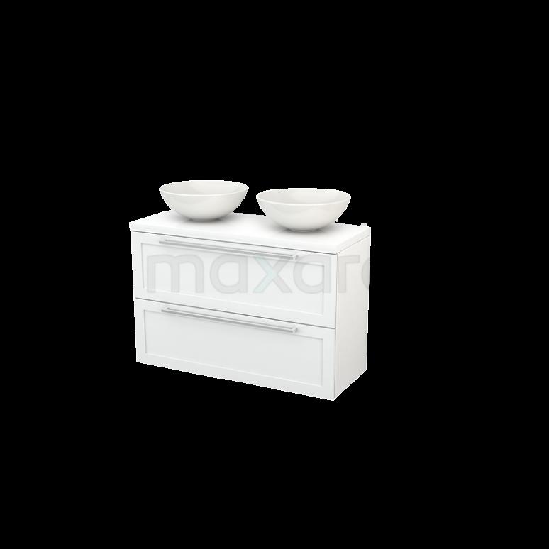 Badkamermeubel voor Waskom 100cm Modulo+ Plato Slim Hoogglans Wit 2 Lades Kader