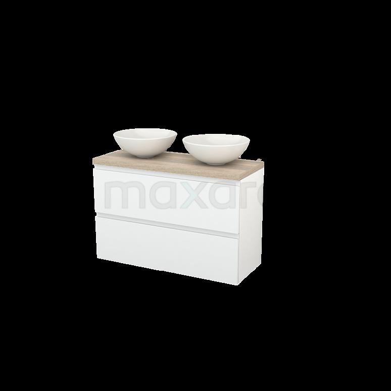 Badkamermeubel voor Waskom 100cm Modulo+ Plato Slim Hoogglans Wit 2 Lades Greeploos Eiken Blad