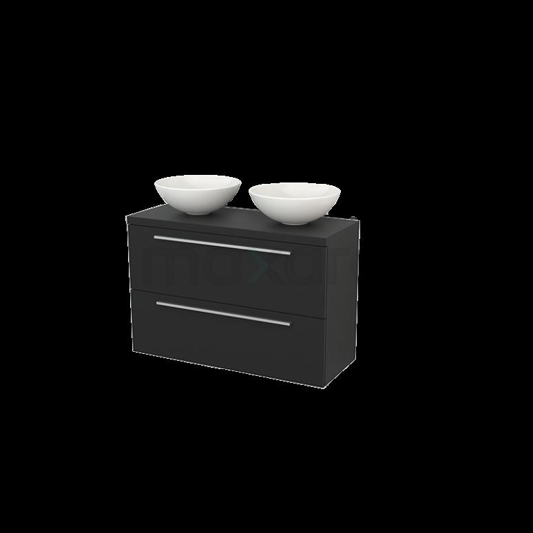 Badkamermeubel voor Waskom 100cm Modulo+ Plato Slim Carbon 2 Lades Vlak