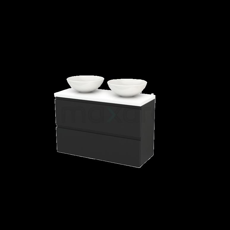 Badkamermeubel voor Waskom 100cm Modulo+ Plato Slim Carbon 2 Lades Greeploos Hoogglans Wit Blad