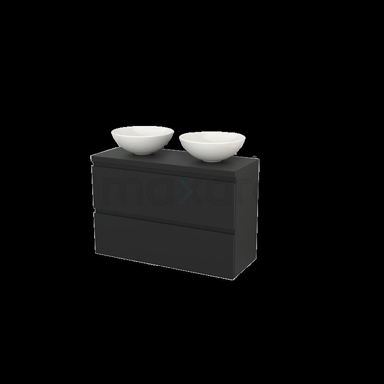 Badkamermeubel voor Waskom 100cm Modulo+ Plato Slim Carbon 2 Lades Greeploos