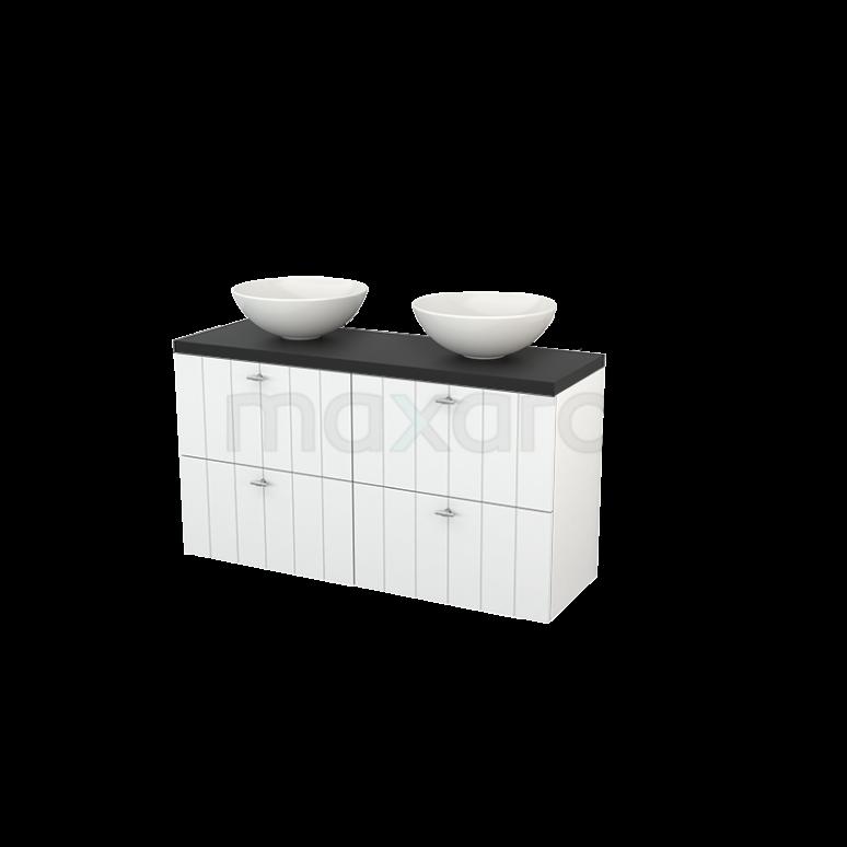 Badkamermeubel voor Waskom 120cm Hoogglans Wit Lamel Modulo+ Plato Slim Carbon Blad