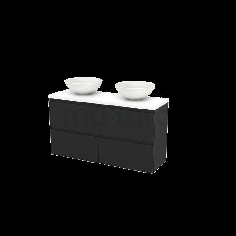 Maxaro Modulo+ Plato Slim BMD000187 Badkamermeubel voor Waskom 120cm Carbon Greeploos Modulo+ Plato Slim Hoogglans Wit Blad