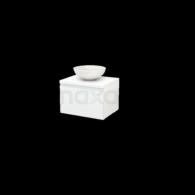 Badkamermeubel voor Waskom 60cm Modulo+ Plato Hoogglans Wit 1 Lade Greeploos