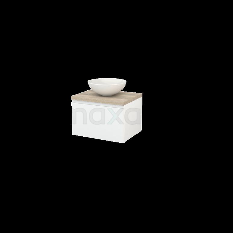 Badkamermeubel voor Waskom 60cm Hoogglans Wit Greeploos Modulo+ Plato Eiken Blad