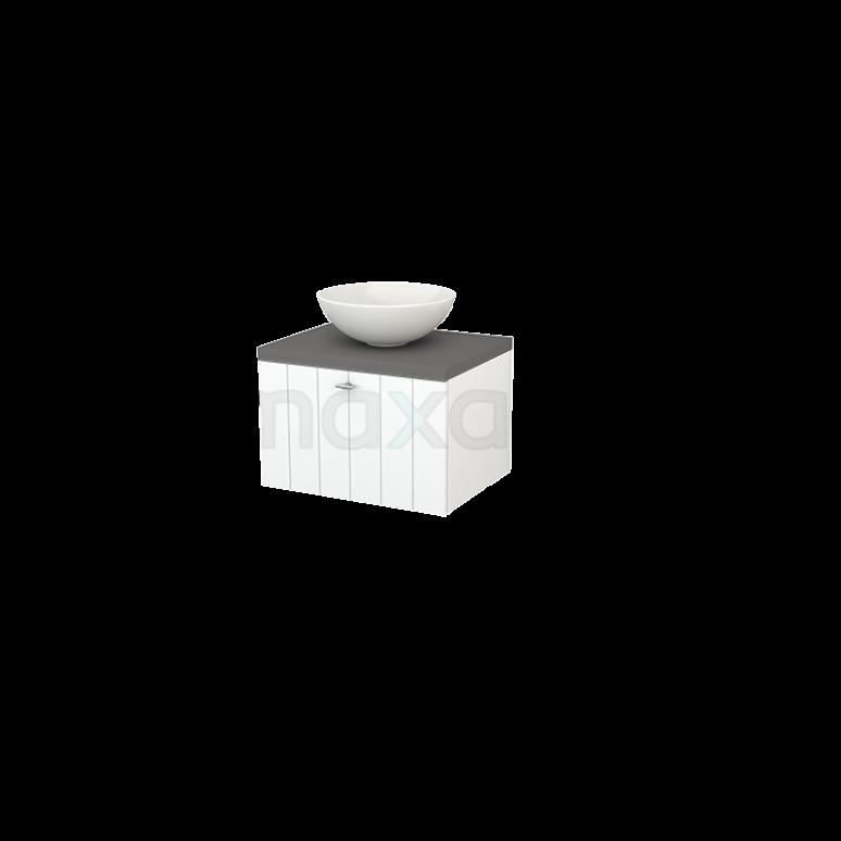 Badkamermeubel voor Waskom 60cm Mat Wit Lamel Modulo+ Plato Basalt Blad