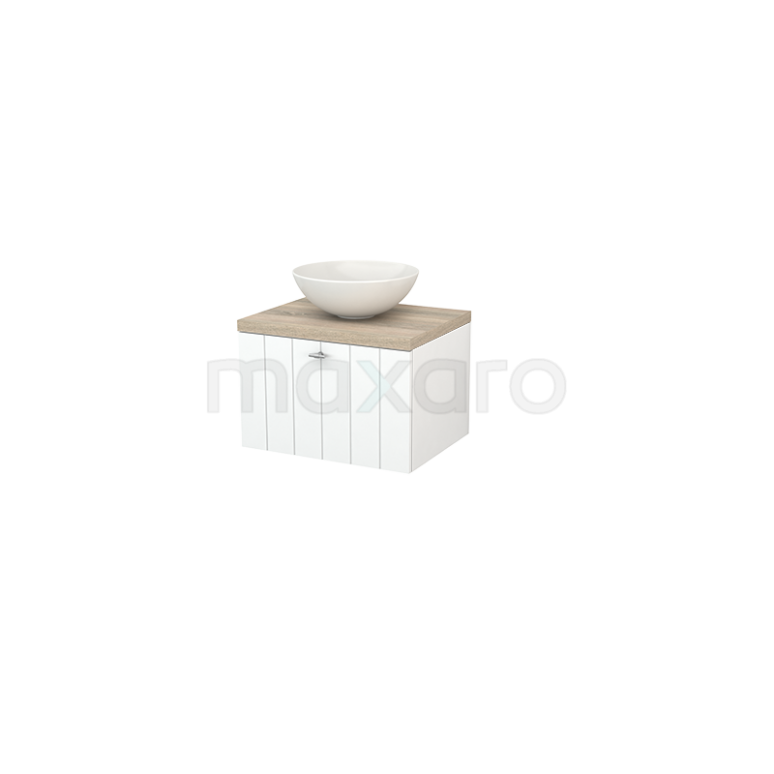 Badkamermeubel voor Waskom 60cm Mat Wit Lamel Modulo+ Plato Eiken Blad