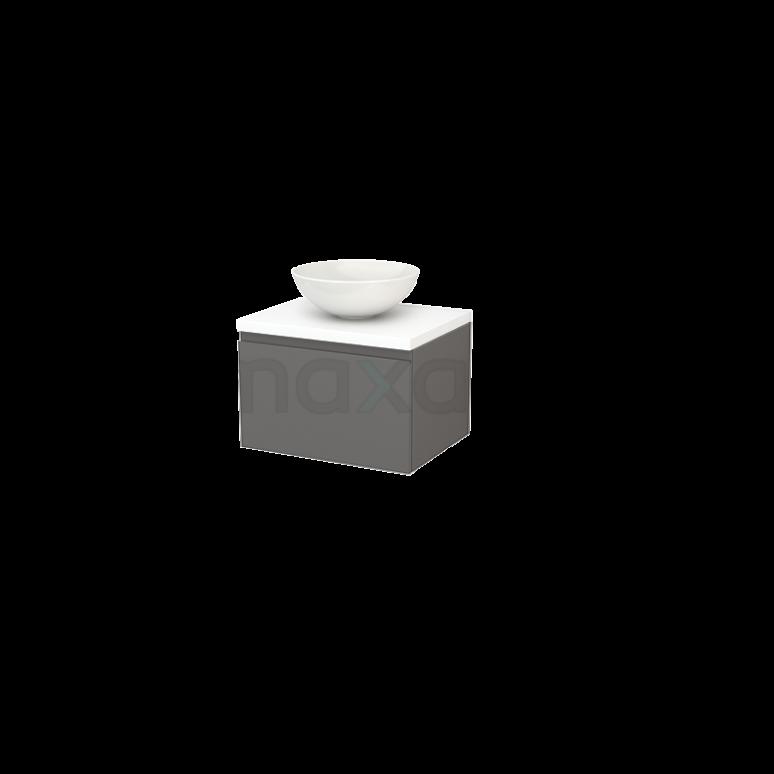 Badkamermeubel voor Waskom 60cm Basalt Greeploos Modulo+ Plato Mat Wit Blad