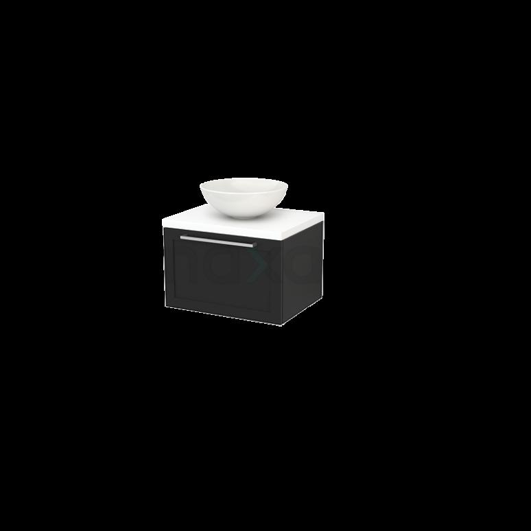 Badkamermeubel voor Waskom 60cm Carbon Kader Modulo+ Plato Mat Wit Blad