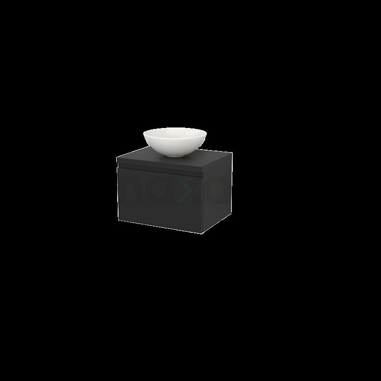 Badkamermeubel voor Waskom 60cm Modulo+ Plato Carbon 1 Lade Greeploos