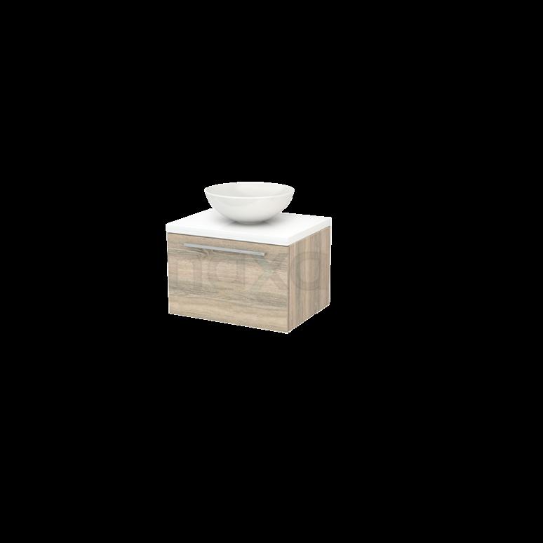 Badkamermeubel voor Waskom 60cm Eiken Vlak Modulo+ Plato Hoogglans Wit Blad